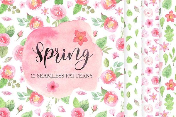 12 Spring Seamless Pattern Set