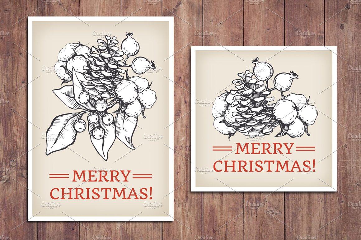 Vintage Christmas Cards. Hand Drawn ~ Templates ~ Creative Market