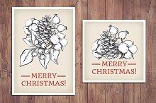 Vintage Christmas Cards. Hand Drawn