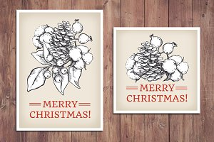 Vintage Christmas Cards. Hand Drawn