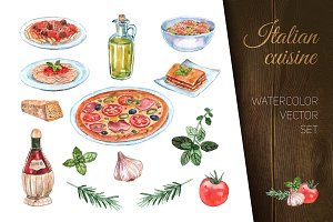 Italian cuisine watercolor set