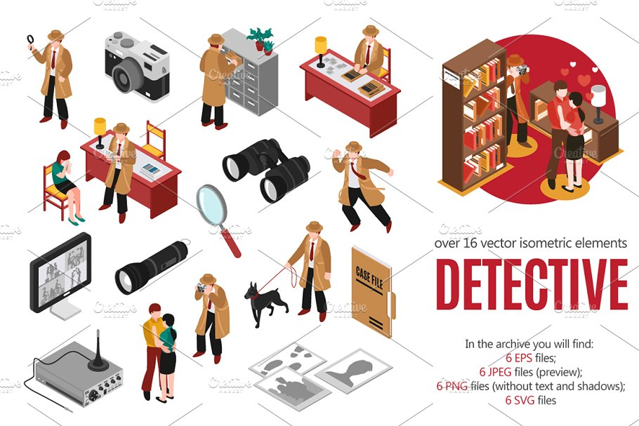 Detective Isometric Set
