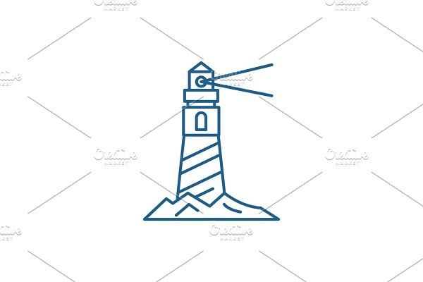 Lighthouse on the shore line icon