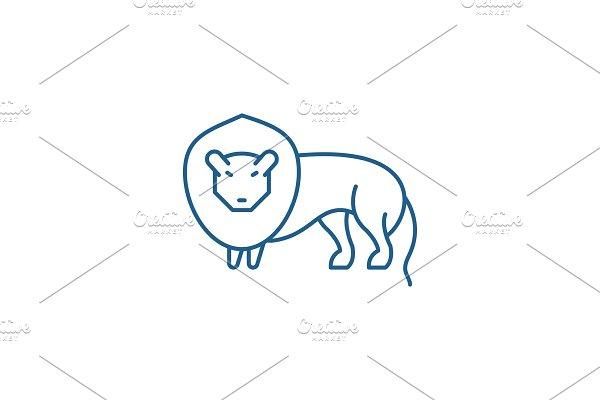 Lion line icon concept. Lion flat
