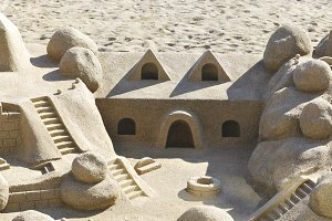 Sand castle in the beach