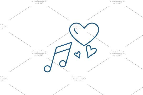Love music line icon concept. Love
