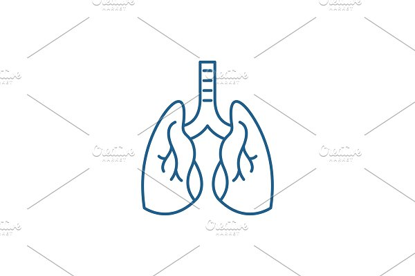 Lungs line icon concept. Lungs flat