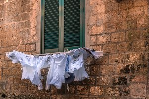 Cloths / drying outside the house
