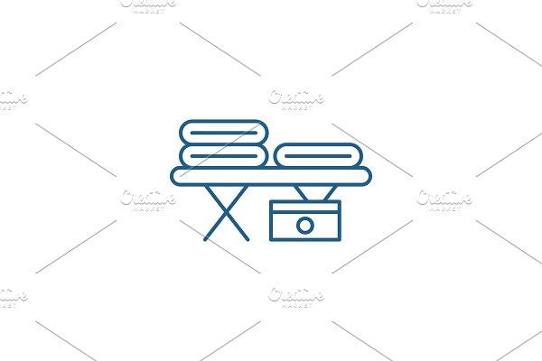 Massage table line icon concept