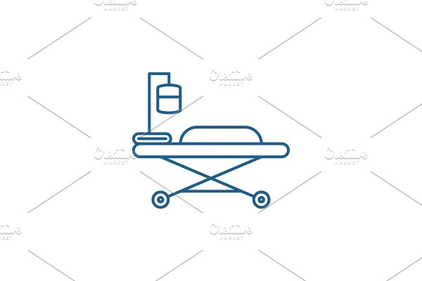 Medical bed line icon concept