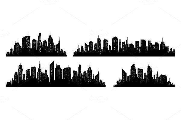 City silhouette vector set