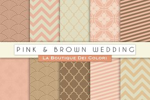 Pink and Brown Wedding Digital Paper