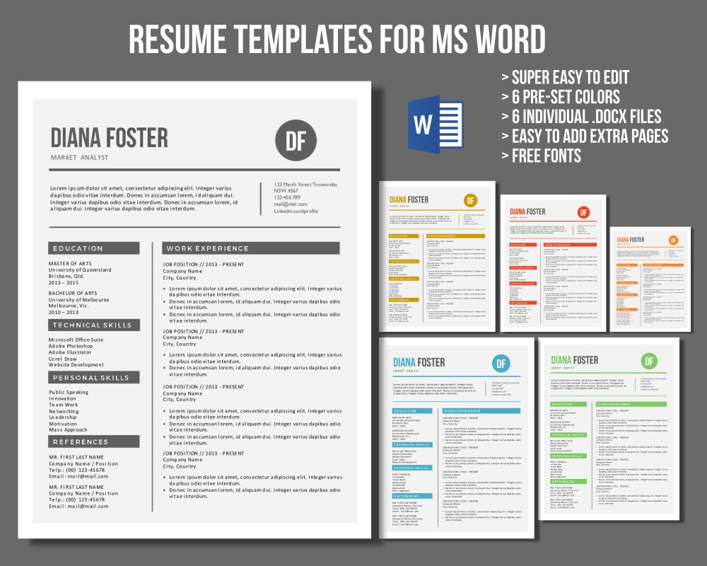Neat Word Resume Templates Creative Market