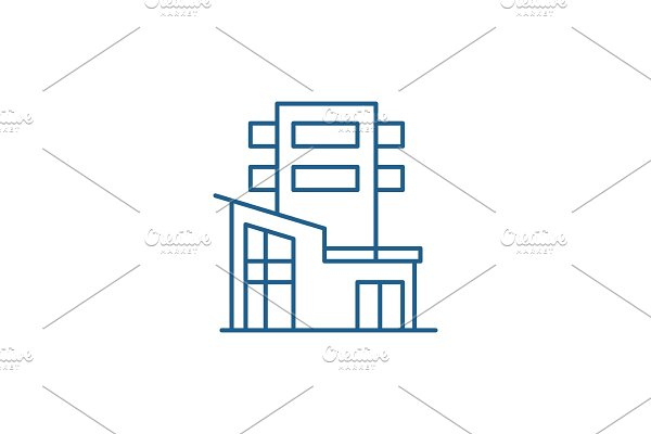 Office building line icon concept
