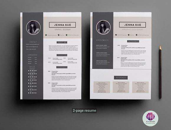 modern 2 page resume template resume templates creative market