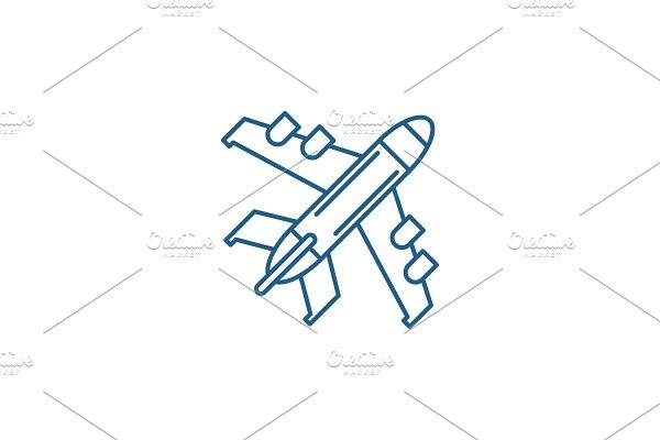Passenger plane line icon concept