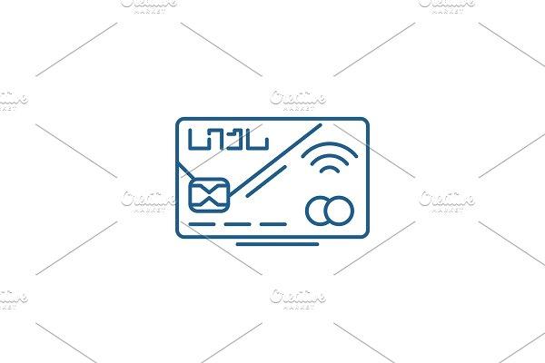 Plastic card line icon concept