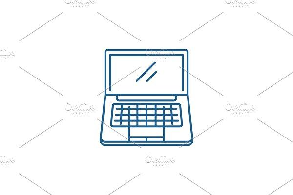 Portable computer line icon concept