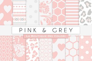 Pink & Grey Digital Papers