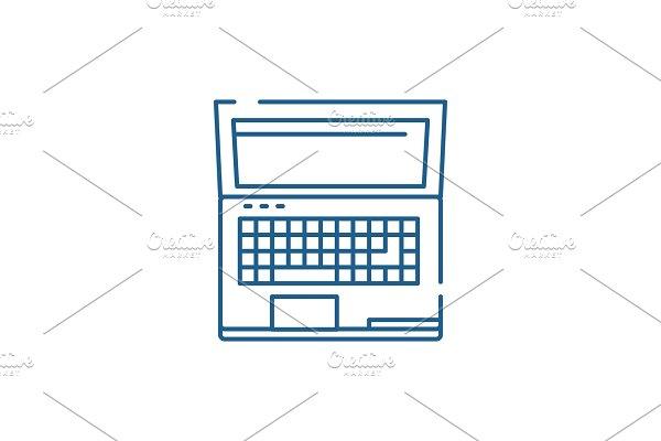 Powerful laptop line icon concept