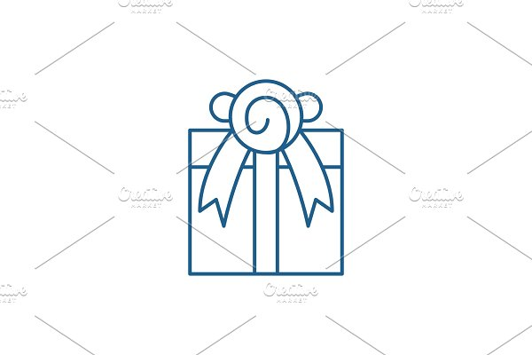 Present line icon concept. Present