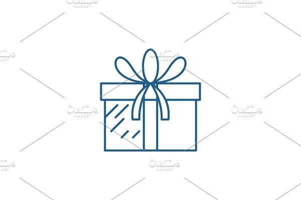 Present box line icon concept