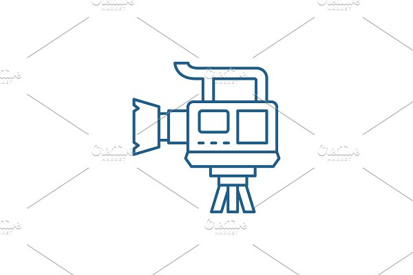 Professional video camera line icon