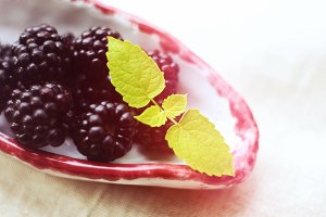 Blackberries on the plate