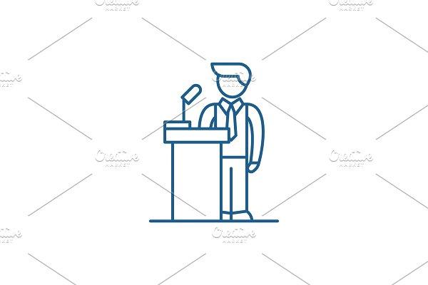 Public performance line icon concept