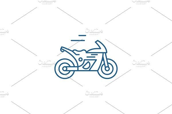 Race bike line icon concept. Race