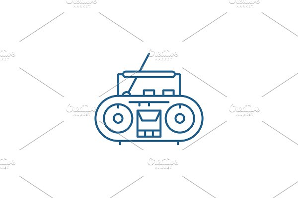 Record player line icon concept