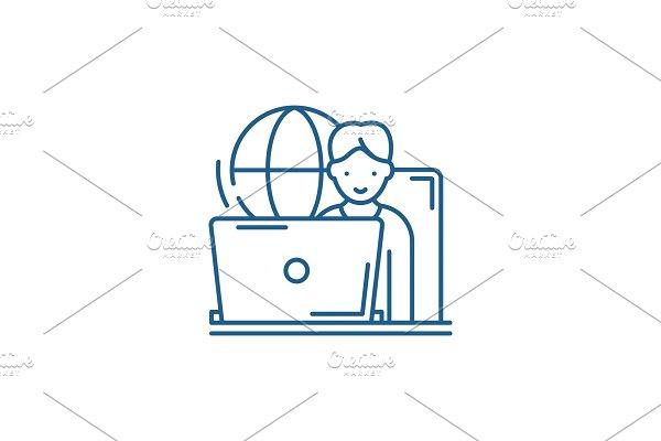Remote work line icon concept