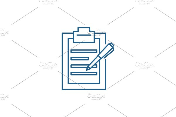 Report writing line icon concept