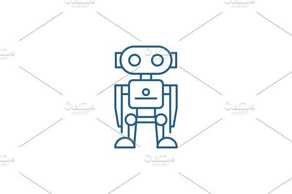 Robot line icon concept. Robot flat