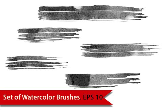 Set of Watercolor Brushes. Vector - Textures