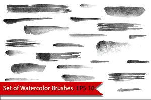 Set of Watercolor Brushes. Vector