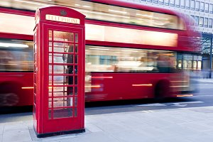 Ren bus in motion & telephone booth