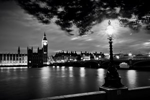 London at night in black & white