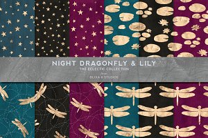Rose Gold Night Dragonfly Patterns