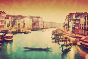 Vintage painting of Venice, Italy