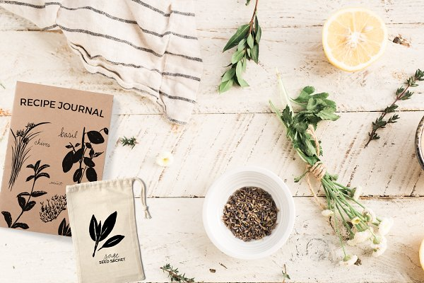 Vector Culinary Herbs & Lettering