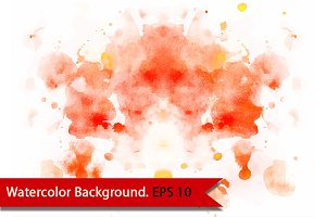 Orange watercolor background. Vector