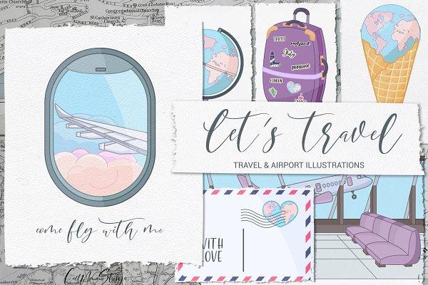 Let's travel. Travel illustrations