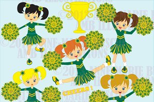 Green cheerleader squad cliparts