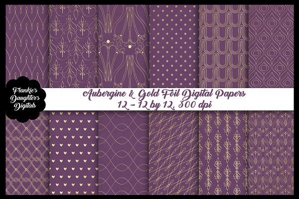 Aubergine & Gold Foil Digital Papers