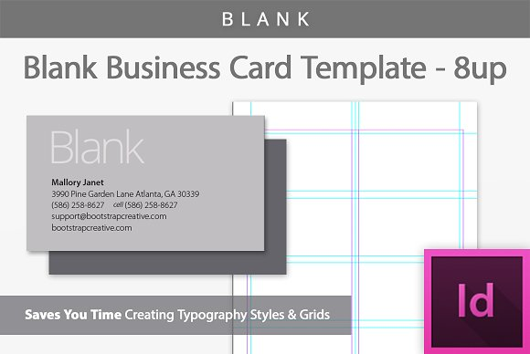 blank business card template 8 up