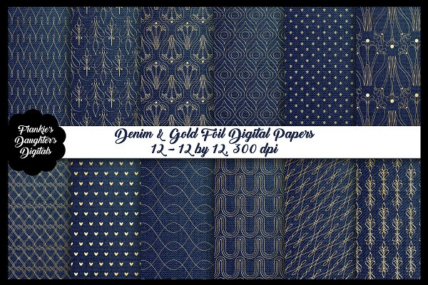 Denim and Gold Foil Digital Papers
