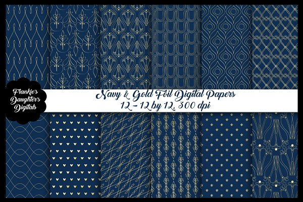 Navy Blue & Gold Foil Papers