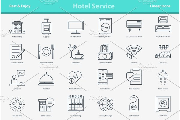 Vector outline icon set - hotel