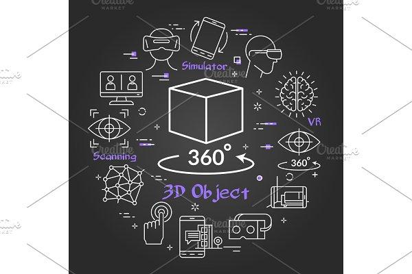 Virtual reality concept - cube as 3D